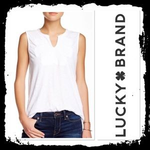 Lucky Brand Embroidered Bib Tank White